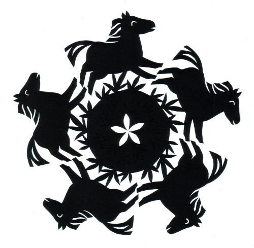 cut paper design Circle of Horses