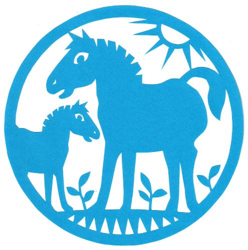 cut paper design Two Horses