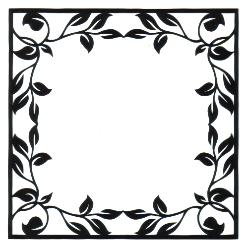 cut paper design Square Leafy Frame