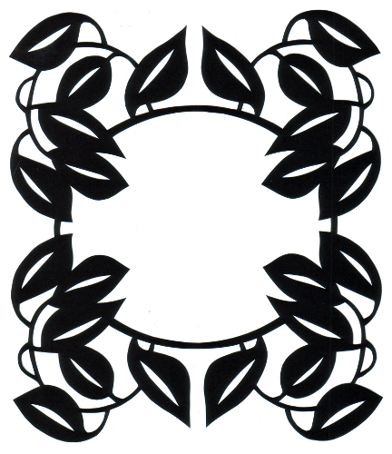 cut paper design Leafy Oval Frame