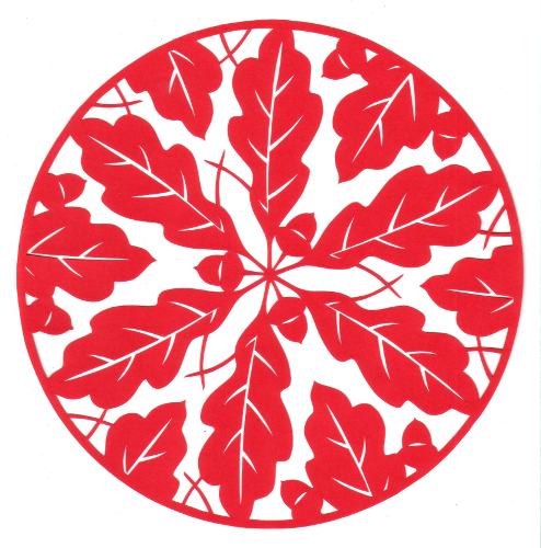 cut paper design Oak Leaf Circle