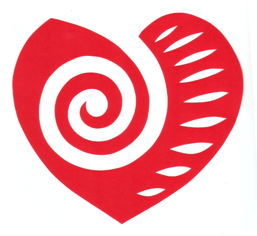 cut paper design Spiral Heart