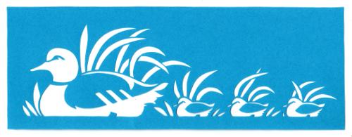 cut paper design Ducks in a Row Stencil