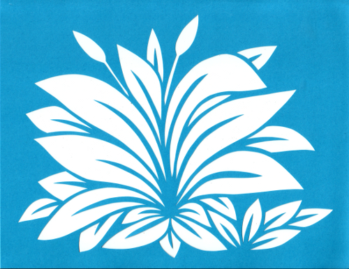 cut paper design Plantain Leaf Stencil