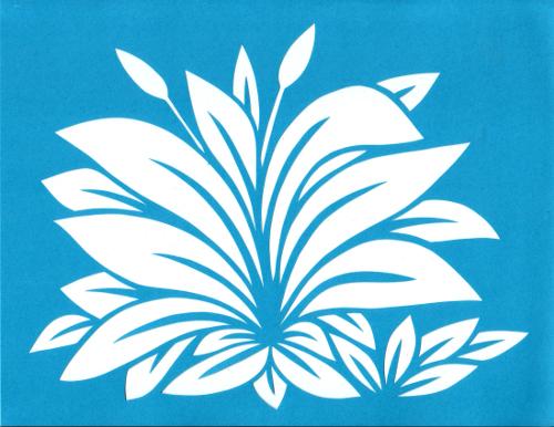 cut paper design Plantain Leaf Stencil