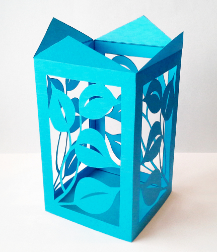 cut paper design Box Shape with Leaves