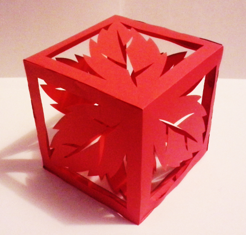 cut paper design Cube with Spearmint Design