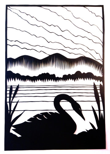 cut paper design Black Swan