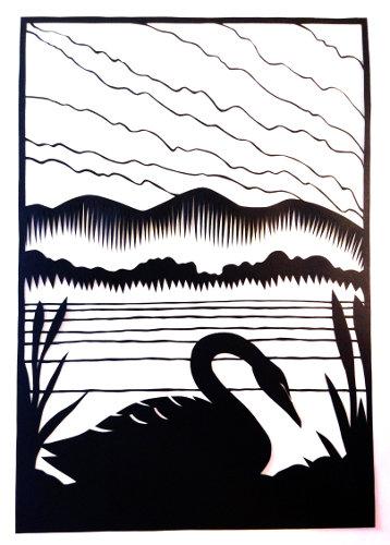 cut paper design Black Swan