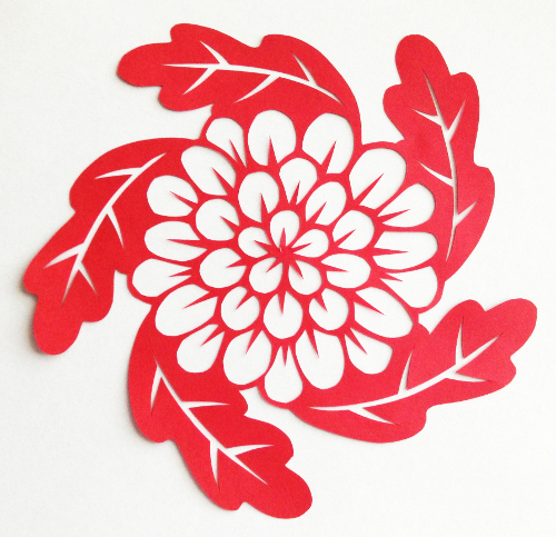 cut paper design Flower Leaf Circle