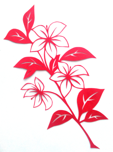 cut paper design Flower Branch