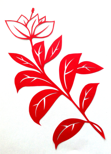 cut paper design Flower Stem