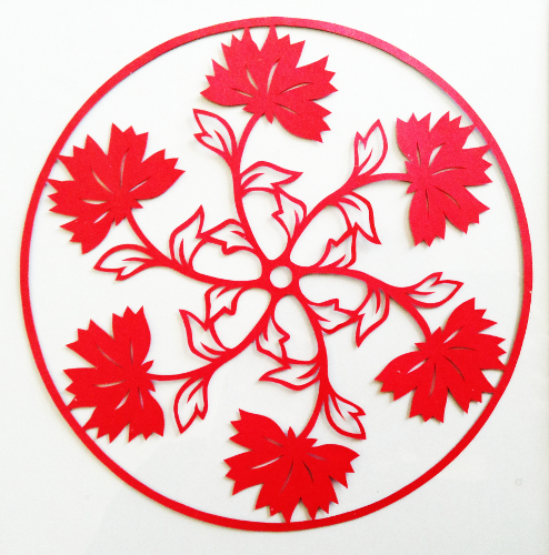 cut paper design Red Flower Circle 2