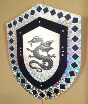 black dragon motif on shield